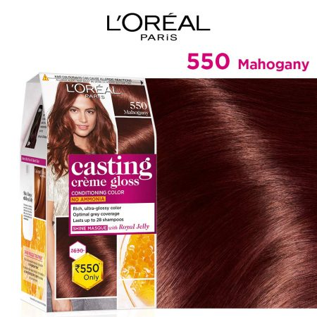 L'Oreal Paris Casting Cream Gloss Hair Colour 550 Mahagony, 87.5g+72ml