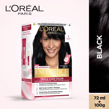 L'Oreal Paris Excellence Cream Triple Care Colour 1 Black 72ml + 100g