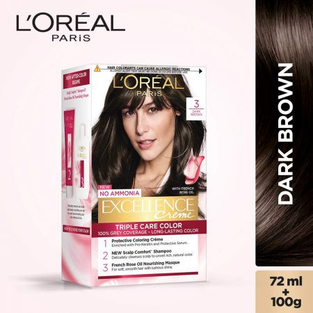 L'Oreal Paris Excellence Cream Triple Care Colour 3 Dark Brown 72ml + 100g