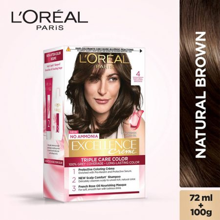 L'Oreal Paris Excellence Cream Triple Care Colour 4 Natural Brown