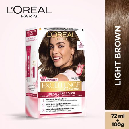 L'Oreal Paris Excellence Cream Triple Care Colour 5 Light Brown 72 ml + 100g