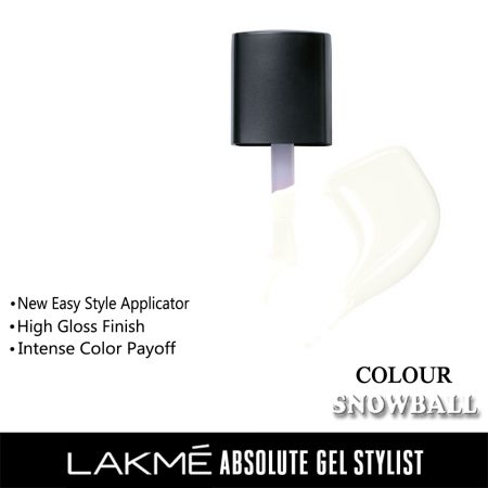 Lakme Absolute Gel Stylist Nail Color Snowball, 15ml
