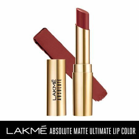 Lakme Absolute Matte Ultimate Lip Color With Argan Oil, Chocolate Brownie (3.4g)