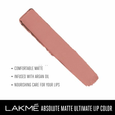 Lakme Absolute Matte Ultimate Lip Color With Argan Oil, Petal Pink (3.4g)