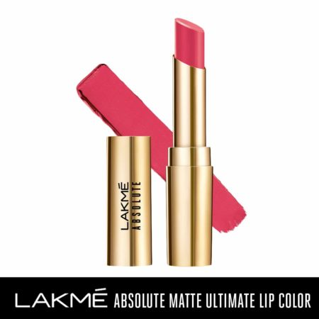 Lakme Absolute Matte Ultimate Lip Color With Argan Oil, Rose Pink (3.4g)