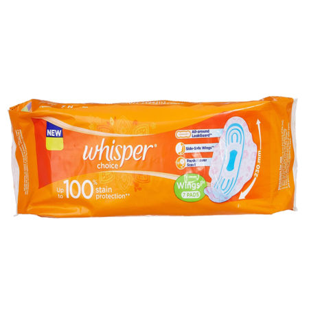 Whisper Choice Wings Sanitary Pads, 7 Pads (Pack of 5)