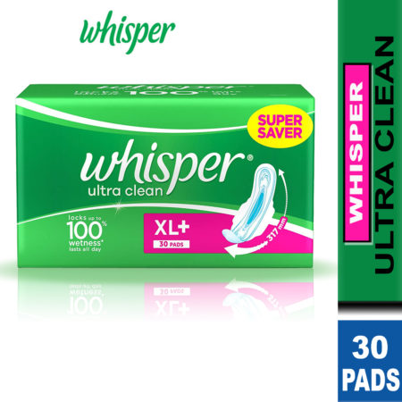 Whisper Ultra Clean Sanitary Pads – XL Plus (30 Pads) Pack of 2