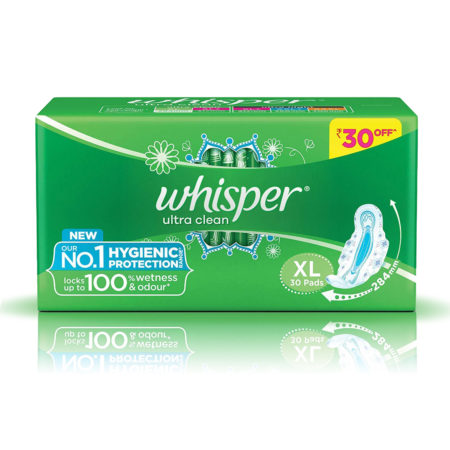 Whisper Ultra Clean Sanitary Pads-XL (30Pads)