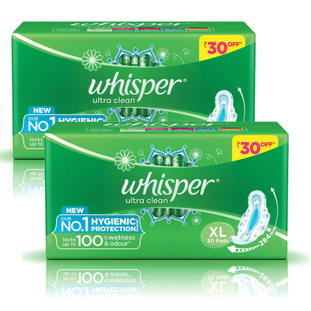 Whisper Ultra Clean Sanitary Pads-XL (30Pads) Pack of 2