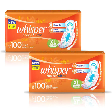 Whisper Choice Ultra  Sanitary Pads–XL (20 Pads) Pack of 2