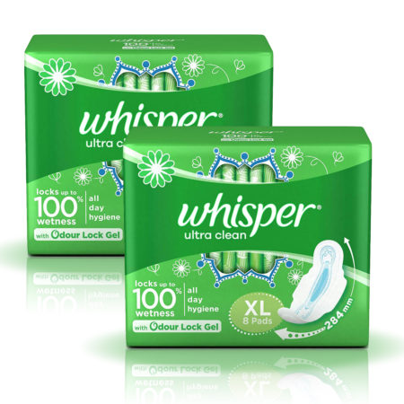 Whisper Ultra Clean Sanitary Pads-XL (8 Pads) Pack of 2