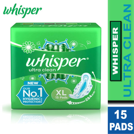 Whisper Ultra Clean Sanitary Pads-XL (15 Pads) Pack of 2