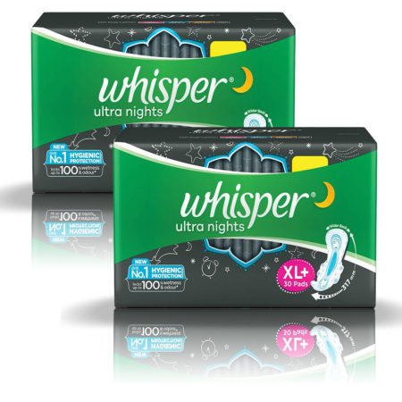 Whisper Ultra Nights Sanitary Pads-XL Plus (30 Pads) Pack of 2