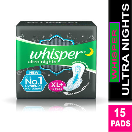 Whisper Ultra Nights Sanitary Pads-XL Plus (15 Pads)