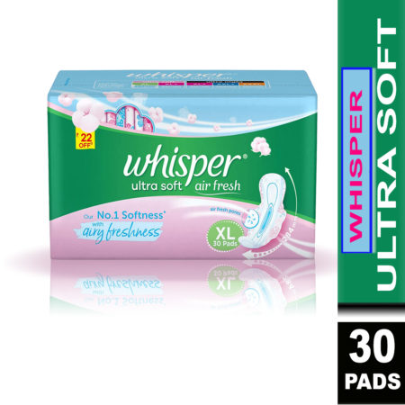 Whisper Ultra Soft Sanitary Pads-XL (30 Pads) Pack of 2