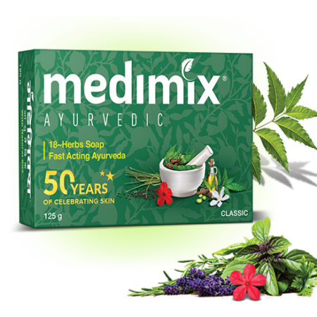 Medimix Ayurvedic Classic 18 Herbs Soap, 125g Pack of 5 (Buy 4 Get 1 Free)