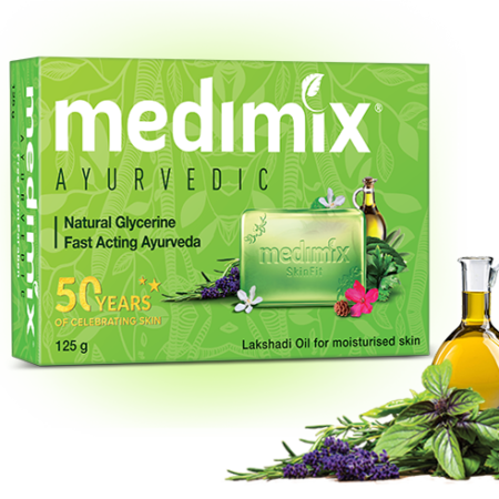 Medimix Ayurvedic Natural Glycerine Bathing Bar, 125g Pack of 5 (Buy 4 Get 1 Free) Pack of 2
