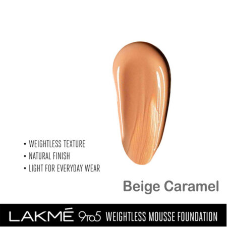 Lakme 9 To 5 Weightless Mousse Foundation, Beige Caramel (29gm)
