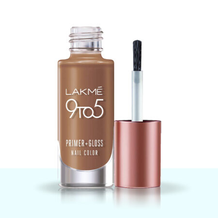 Lakme 9 To 5 Primer + Gloss Nail Colour, Caramel Case (6ml)
