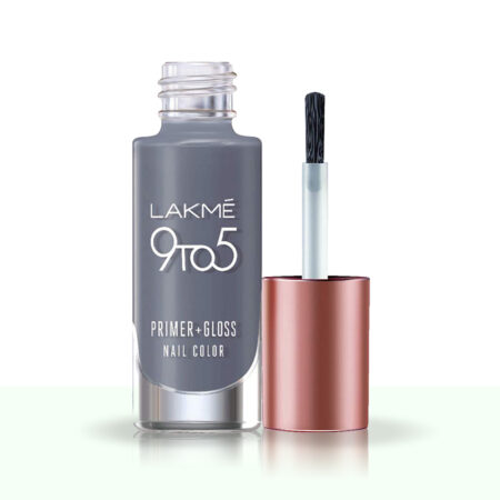 Lakme 9 To 5 Primer + Gloss Nail Color, Clay Grey (6ml)