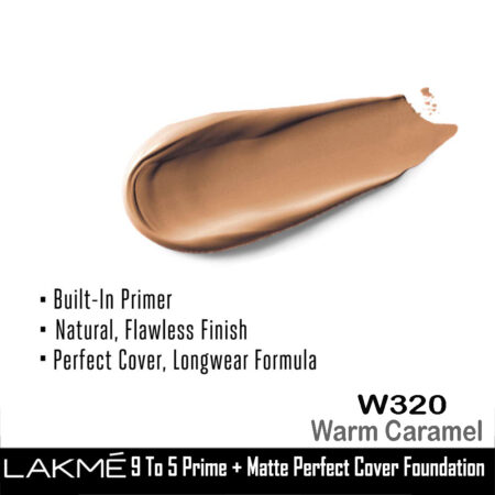 Lakme 9 To 5 Primer + Matte Perfect Cover Foundation, W320 Warm Caramel (25ml)