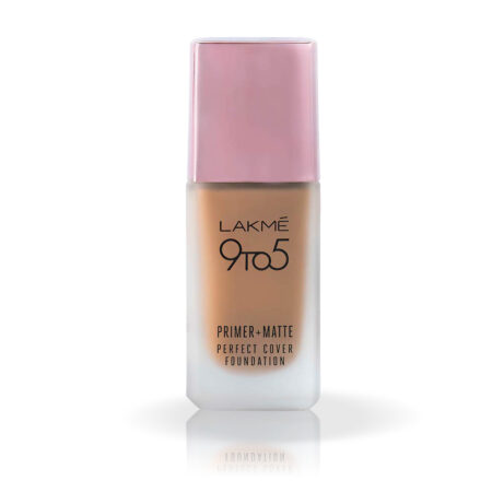 Lakme 9 To 5 Primer + Matte Perfect Cover Foundation, C140 Cool Rose (25ml)