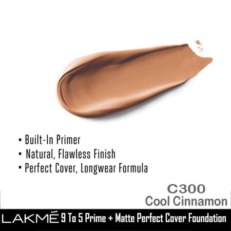 Lakme 9 To 5 Primer + Matte Perfect Cover Foundation, C300 Cool Cinnamon (25ml)