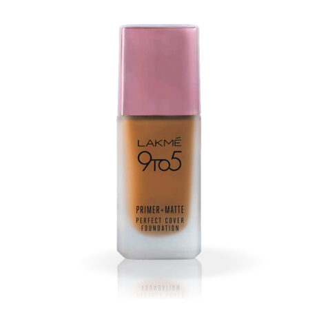 Lakme 9 To 5 Primer + Matte Perfect Cover Foundation, C380 Cool Walnut (25ml)