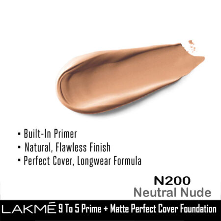 Lakme 9 To 5 Primer + Matte Perfect Cover Foundation, N200 Neutral Nude (25ml)