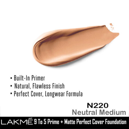 Lakme 9 To 5 Primer + Matte Perfect Cover Foundation, N220 Neutral Medium (25ml)