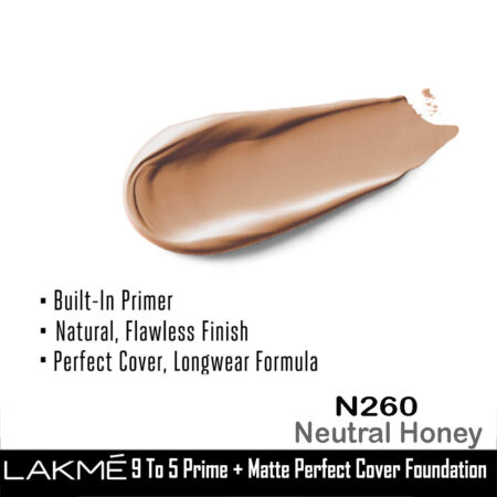 Lakme 9 To 5 Primer + Matte Perfect Cover Foundation, N260 Neutral Honey (25ml)
