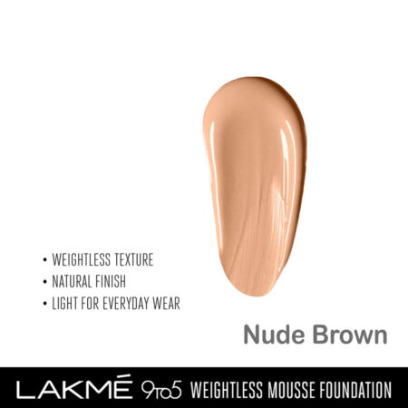 Lakme 9 To 5 Weightless Mousse Foundation, Nude Brown (29gm)