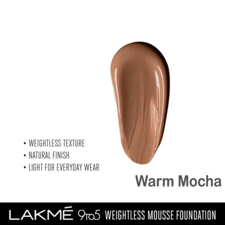 Lakme 9 To 5 Weightless Mousse Foundation, Warm Mocha (29gm)