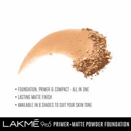 Lakme 9to5 Primer + Matte Powder Foundation, Rose Silk (9g)