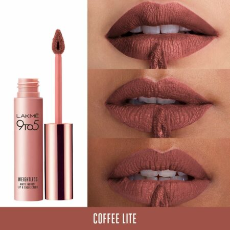 Lakme 9to5 Weightless Mousse Lip And Cheek Color, Coffee Lite (9 g)