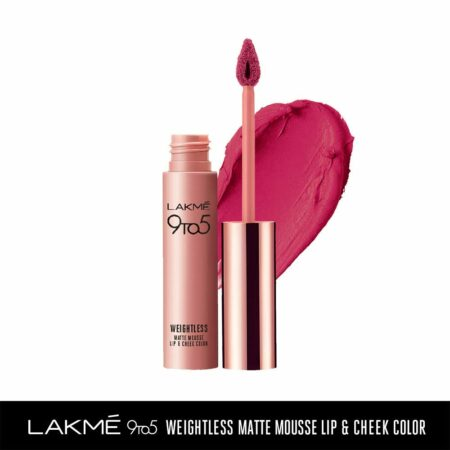 Lakme 9to5 Weightless Mousse Lip And Cheek Colour, Fuchsia Suede (9g)