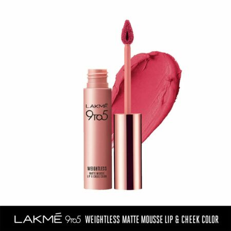 Lakme 9to5 Weightless Mousse Lip And Cheek Colour, Plum Feather (9g)