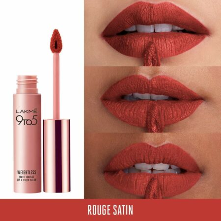 Lakme 9to5 Weightless Mousse Lip And Cheek Color, Rouge Satin 9g