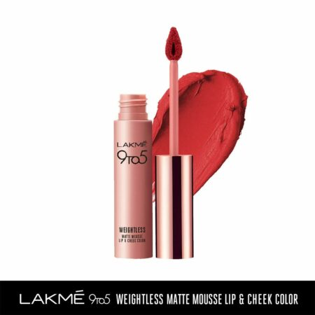 Lakme 9to5 Weightless Mousse Lip And Cheek Colour, Rouge Satin (9g)