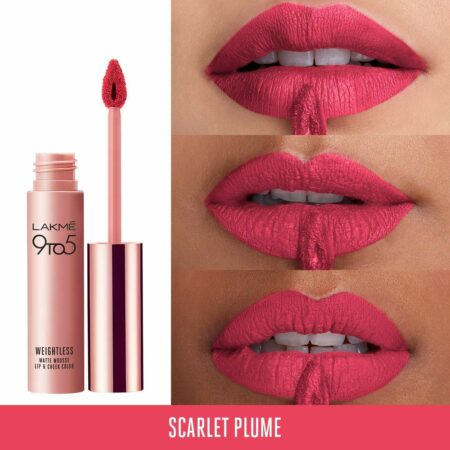 Lakme 9to5 Weightless Mousse Lip And Cheek Colour, Scarlet Plume (9g)