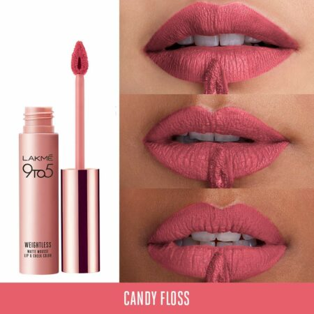 Lakme 9to5 Weightless Mousse Lip And Cheek Colour Candy Floss (9g)