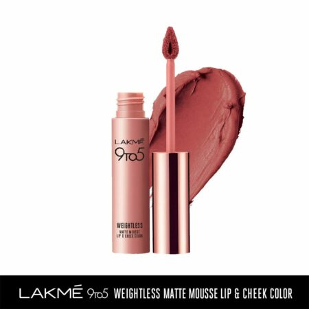 Lakme 9to5 Weightless Mousse Lip And Cheek Colour, Nude Cushion (9g)