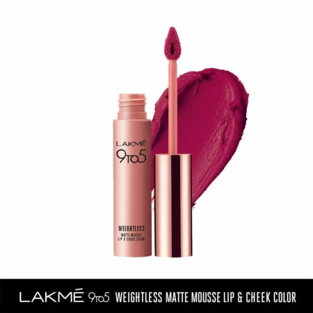 Lakme 9to5 Weightless Mousse Lip And Cheek Colour, Pink Lace (9g)