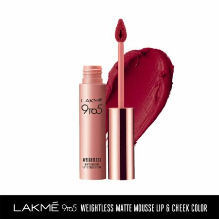 Lakme 9to5 Weightless Mousse Lip And Cheek Colour, Rosy Plum (9g)