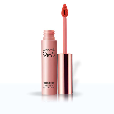 Lakme 9to5 Weightless Mousse Lip And Cheek Colour, Tangerine Fluff (9g)