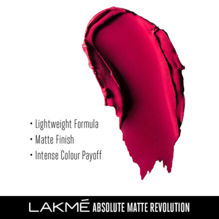 Lakme Absolute Matte Revolution Lip Color, Blushing Red (3.5g)