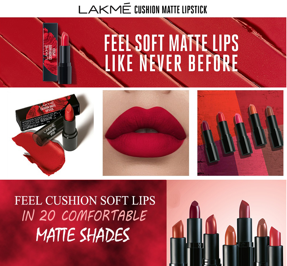 Lakme Cushion Matte Lipstick Red Ruby banner 1