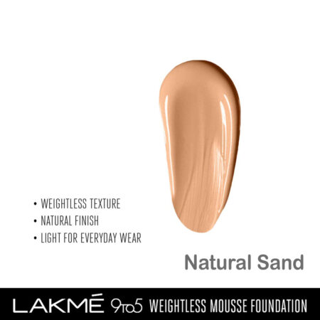 Lakme 9 To 5 Weightless Mousse Foundation, Natural Sand (29gm)