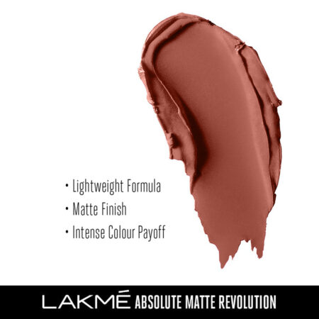 Lakme Absolute Matte Revolution Lip Color, Soft Nude (3.5g)