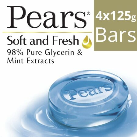 Pears Soft & Fresh Bathing Bar Soap with 98% Pure Glycerine 125g (Pack of 4)